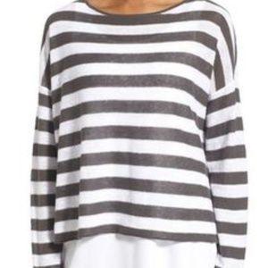 Eileen Fisher Boxy Linen Striped Tee
